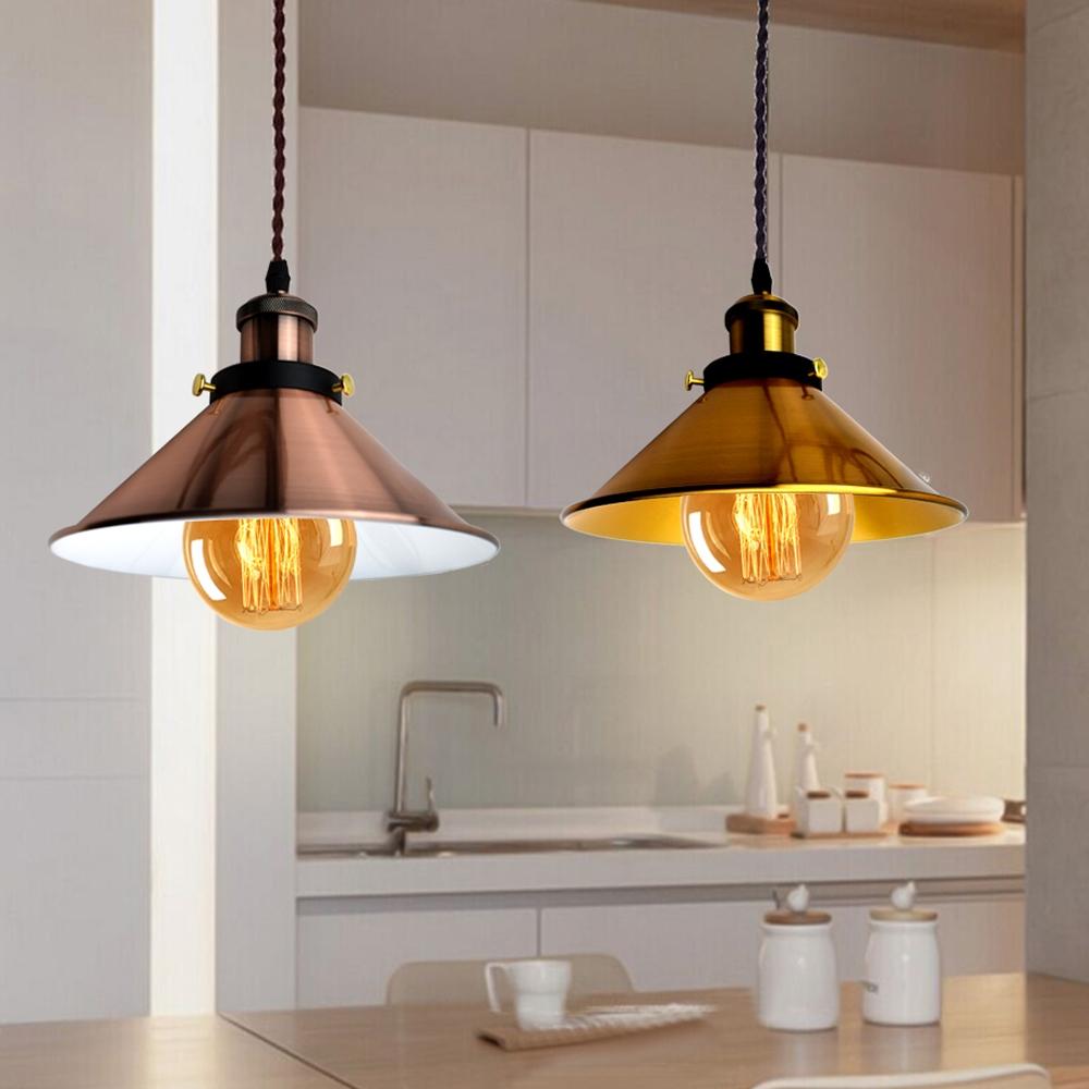 Modern Industrial Retro Metal Pendant Light Ceiling Lamp Lampshade E27 E14