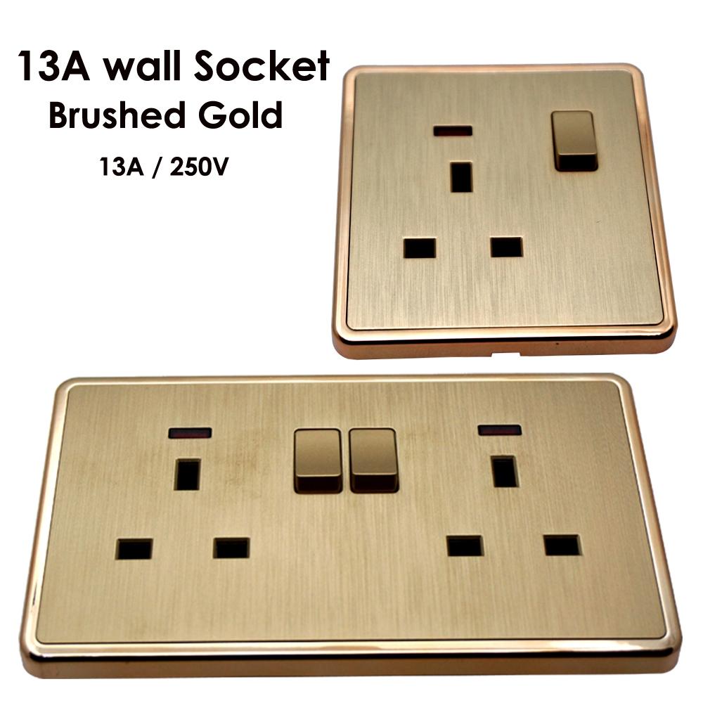 wall socket plug double power outlet uk 13 amp 1 2 gang. Black Bedroom Furniture Sets. Home Design Ideas