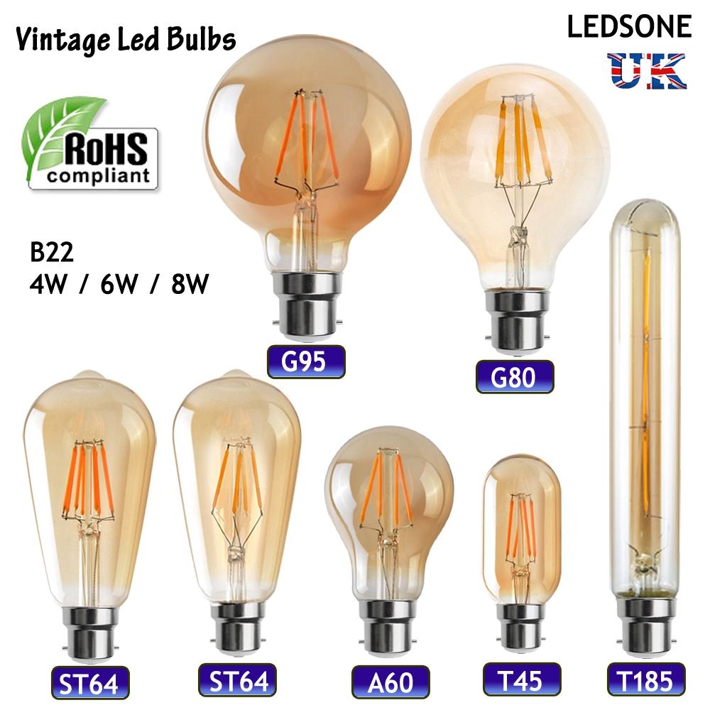 vintage industrial filament led light lamps bulbs squirrel cage edison a b22 uk ebay. Black Bedroom Furniture Sets. Home Design Ideas