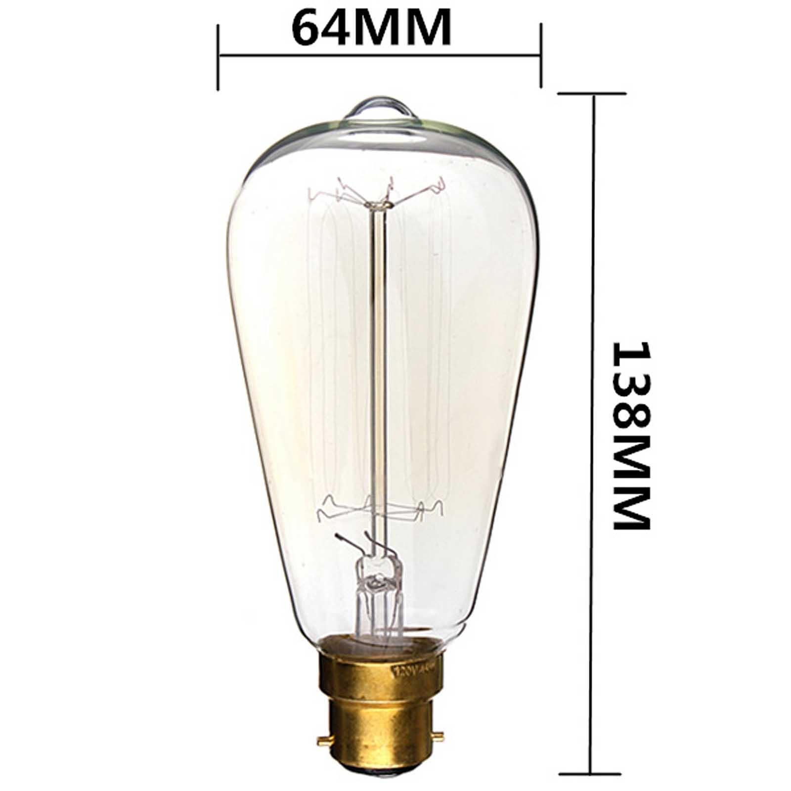 Buy B22 110v 220v 40w Candle Vintage Edison Filament: Edison Lamp Bulb 60W 220V Vintage Antique Retro Light